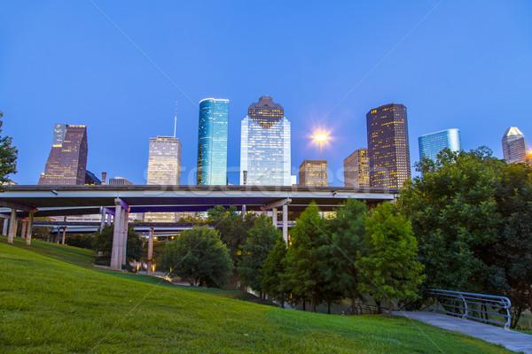 Vista centro de la ciudad Houston tarde tarde rascacielos Foto stock © meinzahn