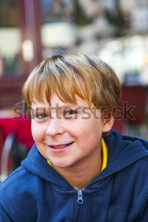 Fiatal srác futball aréna mosoly égbolt mosoly Stock fotó © meinzahn