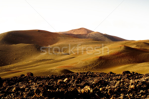 Vulkaan landschap zonsondergang zon licht achtergrond Stockfoto © meinzahn
