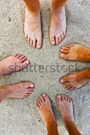 Foto stock: Família · pai · mãe · dois · praia · água