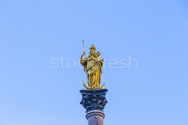 Heykel aziz Münih Almanya güneş parlak Stok fotoğraf © meinzahn