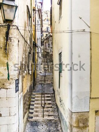 Piedra calle barrio antiguo Lisboa edad Foto stock © meinzahn