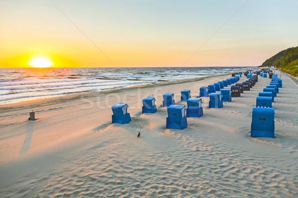 ストックフォト: ビーチチェア · 午前 · 光 · ビーチ · バルト海 · 日没