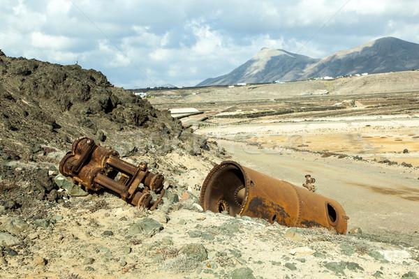 old salt pump and refinery equipment in the saline Stock photo © meinzahn