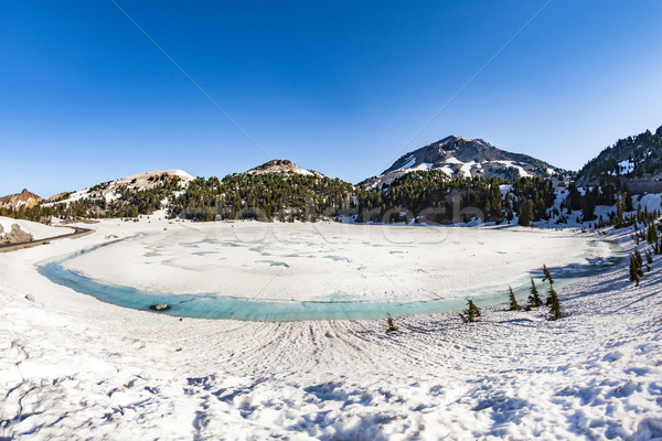 crater lake with snow on Mount Lassen in the Lassen volcanic nat Stock photo © meinzahn