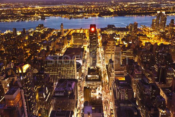 New York nacht Empire State Building hemel kantoor gebouw Stockfoto © meinzahn