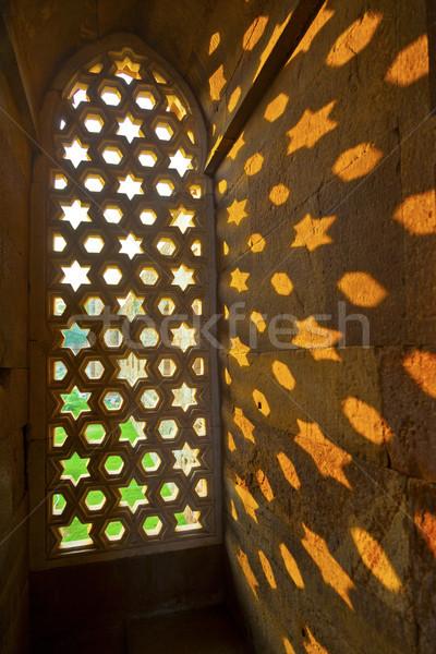 Delhi grès fenêtre modèle ciel étoiles Photo stock © meinzahn
