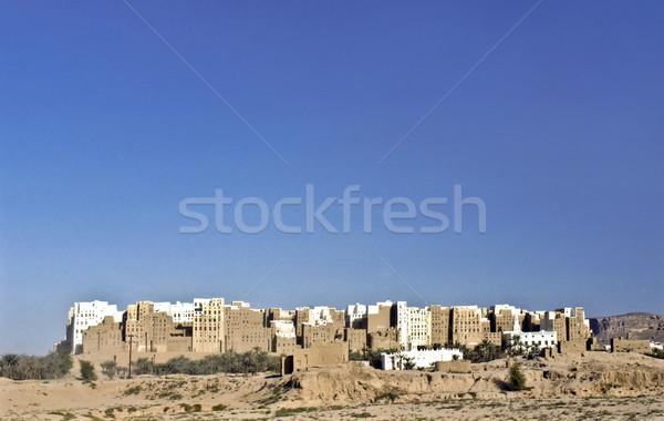 beautiful city of SHIBAM in the desert in the Hadramaut, Yemen. Stock photo © meinzahn
