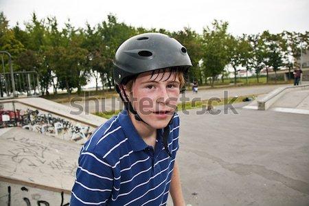 happy smiling  boy with helmet and his BMX bike Stock photo © meinzahn