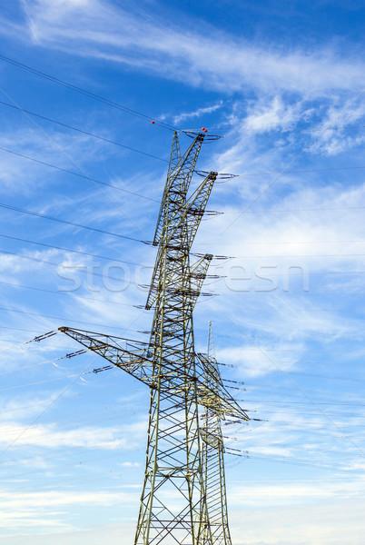 Elektomos torony tájkép utca felhők építkezés Stock fotó © meinzahn
