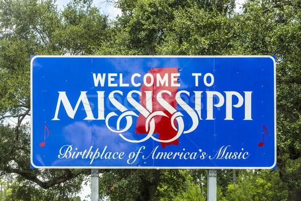 Kırmızı beyaz mavi imzalamak karşılama Mississipi Stok fotoğraf © meinzahn