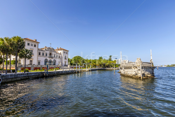 Stone breakwater barge and Magnificent Mansion,Vizcaya on Biscay Stock photo © meinzahn