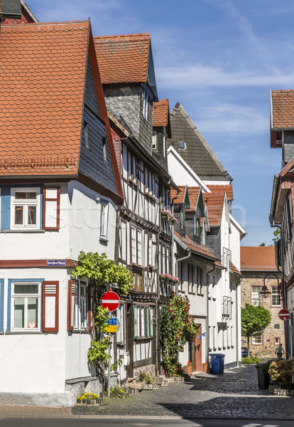 old timbered medieval houses  in Butzbach, Germany under blue sk Stock photo © meinzahn