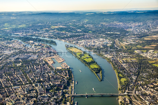 aerial view to Mainz and river Rhine Stock photo © meinzahn
