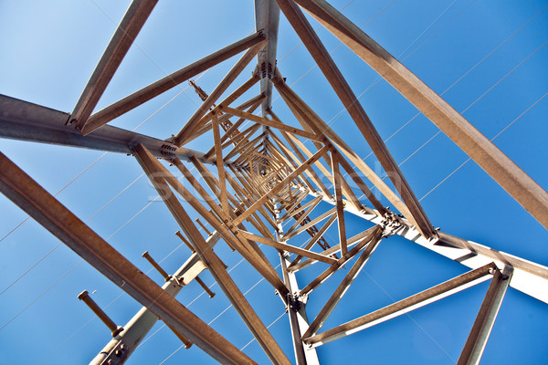 Elektriciteit hoogspanning toren blauwe hemel bouw natuur Stockfoto © meinzahn