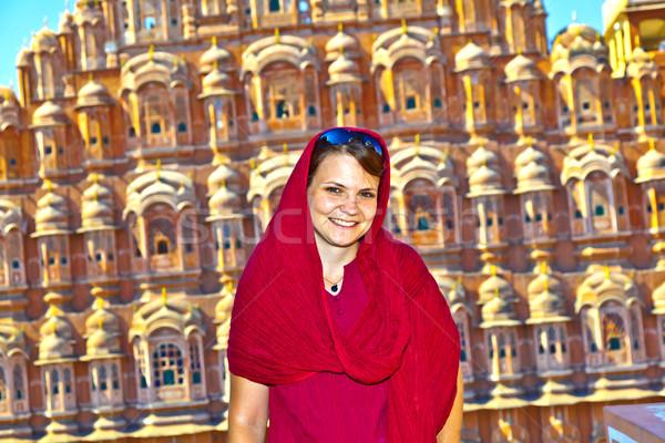 beautiful european woman in front of Hawa Mahal in Jaipur, Rajas Stock photo © meinzahn