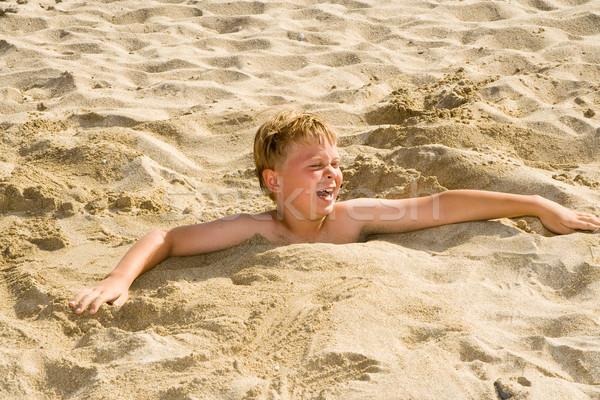 Stock fotó: Fiú · homokos · tengerpart · jókedv · arc · homok · portré