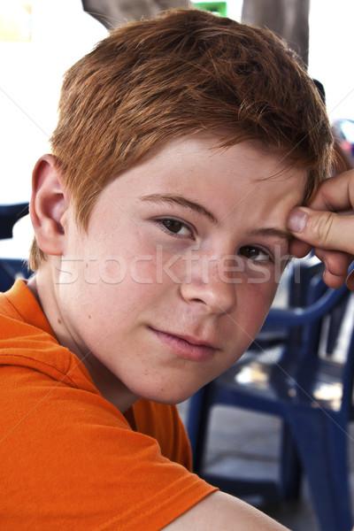Glimlachend cute jongen bruine ogen schoonheid contact Stockfoto © meinzahn