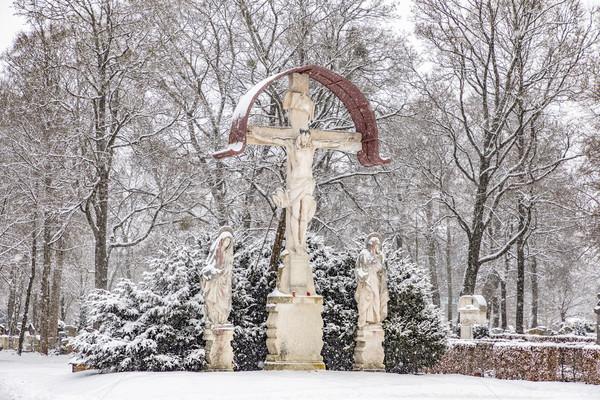 crucifix in west cemetery in munich in heavy snow Stock photo © meinzahn