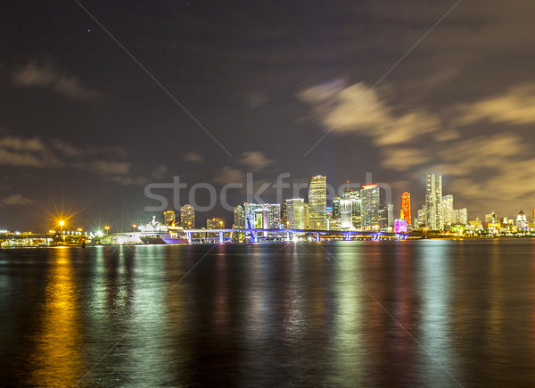 Miami city skyline panorama at dusk Stock photo © meinzahn