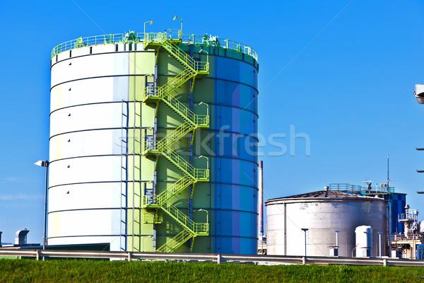 Przemysłu parku komin Frankfurt domu budynku Zdjęcia stock © meinzahn