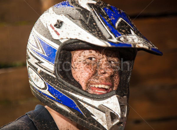 young boy enjoys quad driving and enjoyes is Stock photo © meinzahn