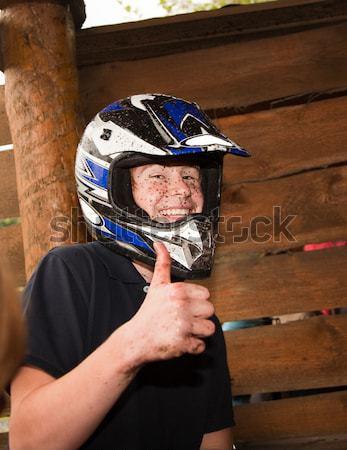 Jongen vuil gezicht rijden gelukkig kinderen Stockfoto © meinzahn