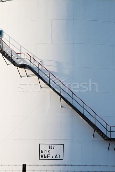 industrial stair at white tank in tank farm Stock photo © meinzahn