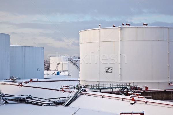 白 タンク ファーム 雪 冬 鉄 ストックフォト © meinzahn