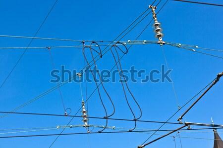 Transzformátor állomás vidéki táj részlet kék ég technológia Stock fotó © meinzahn