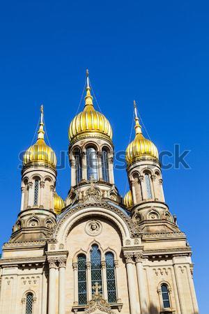 Orosz ortodox kápolna Németország égbolt ház Stock fotó © meinzahn