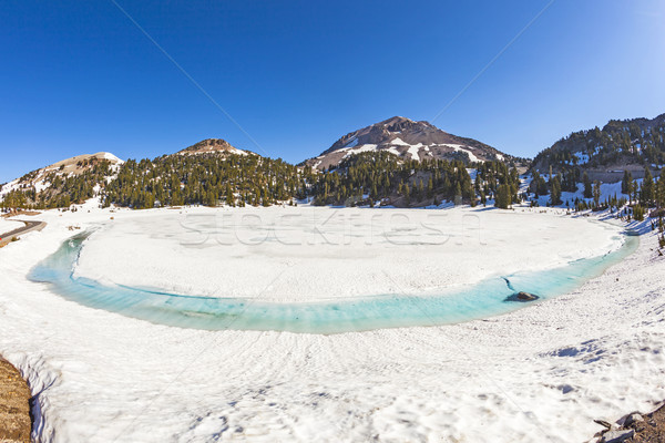 icy glacier lake on foot of Mount Lassen in the national park Stock photo © meinzahn
