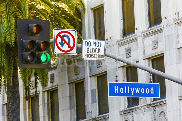Hollywood segnale stradale alto palme albero strada Foto d'archivio © meinzahn