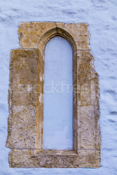 pattern of  blue wall with old window frame  Stock photo © meinzahn
