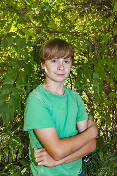 Sevimli akıllı erkek bahçe ağaç yüz Stok fotoğraf © meinzahn