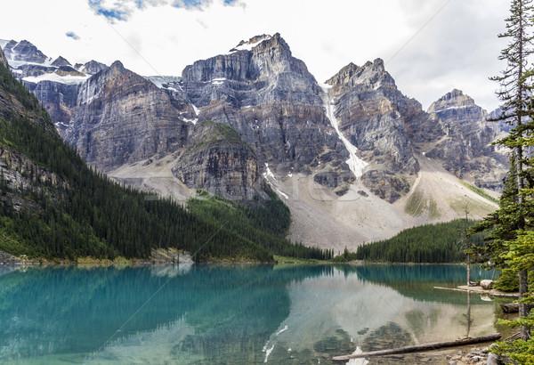 湖 山 木 風景 堆石 ストックフォト © meinzahn