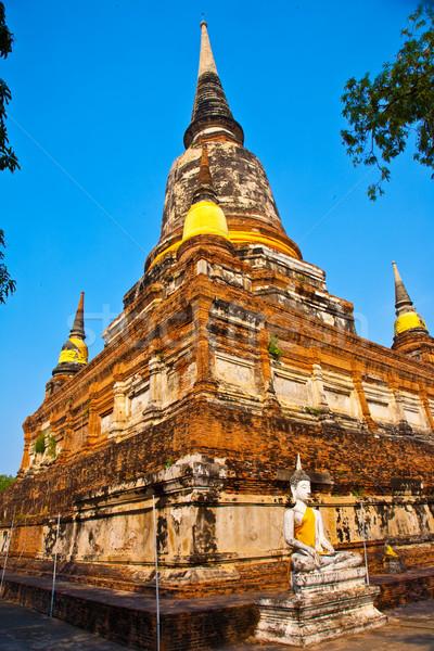 Buda tapınak Bangkok Tayland gökyüzü mavi Stok fotoğraf © meinzahn