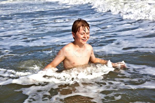 Erkek güzel okyanus plaj dalgalar Stok fotoğraf © meinzahn