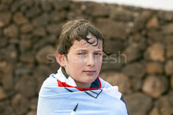 cute boy at the pool Stock photo © meinzahn