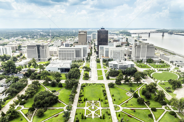 aerial of baton Rouge with  Huey Long statue and  skyline Stock photo © meinzahn