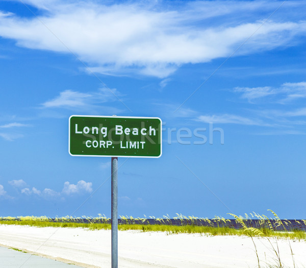 Sokak işareti long beach karayolu Hristiyan plaj Stok fotoğraf © meinzahn