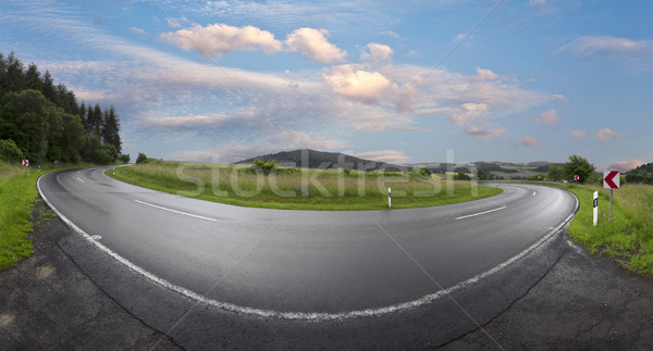wet winding road in rural Eifel landscape Stock photo © meinzahn
