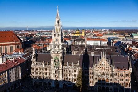 Híres München városháza Németország égbolt templom Stock fotó © meinzahn