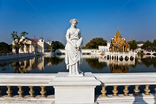 Lady Statue at Bang Pa-In Palace at the white bridge Stock photo © meinzahn