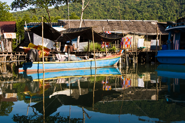 huts and colorful  fisherboats at the mangrove everglades in a s Stock photo © meinzahn