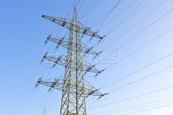 Elektomos távvezeték égbolt felirat hálózat ipar Stock fotó © meinzahn