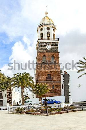 l church of San Gines in Arrecife with its white-washed exterio Stock photo © meinzahn