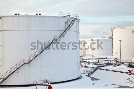 white tanks in tank farm with snow in winter Stock photo © meinzahn
