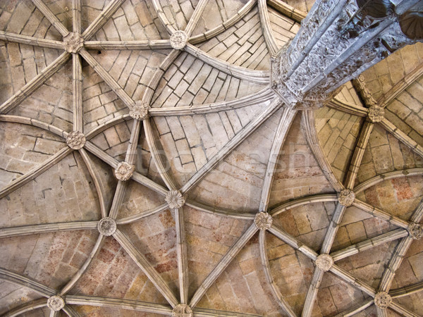 beautiful ceiling in the Jeronimos Monastery in Lisbon, Belem  Stock photo © meinzahn