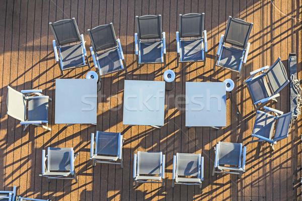 Cadeiras convés pessoas reunião Foto stock © meinzahn